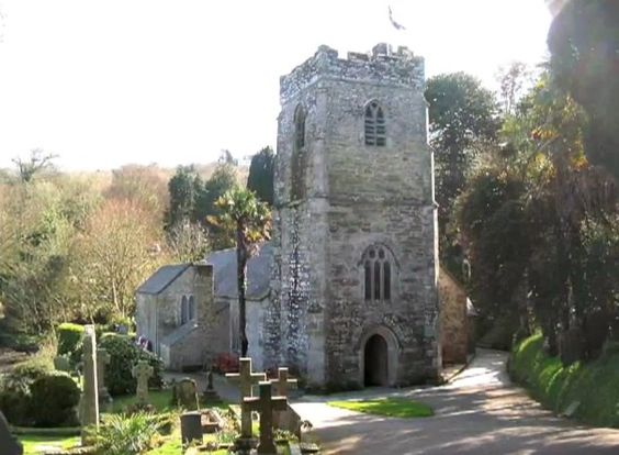 St. Just In Roseland Church, Cornwall. Built in 1261 CE on the site of a 6th century Celtic chapel. The church grounds have a beautiful sub-tropical garden and holy well.