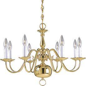 Progress Lighting Americana 26-In 8-Light Polished Brass Tinted Glass