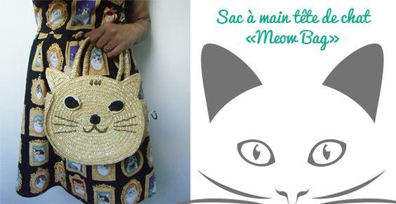 Pour les cats addicts, ce sac à main tête de chat en paille va vite devenir un indispensable !  Ronronnez de bonheur ! #sac #sacamain #handbag #bag #strawbag #cat #cats #chat #chats #catlovers #cataddicts #original