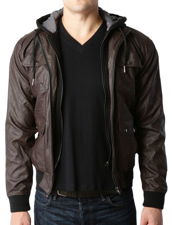 Mens Faux Leather Zip Up Moto Jacket with Detachable Hoodie