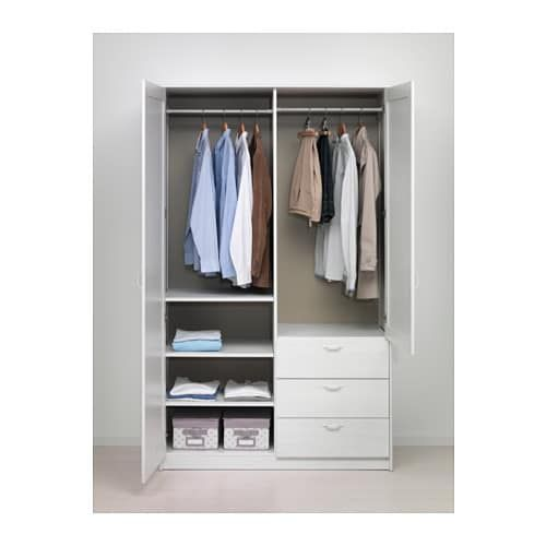 Musken Wardrobe With 2 Doors 3 Drawers White 124x60x201 Cm Ikea Closet Layout Bedroom Wardrobe Bedroom Armoire
