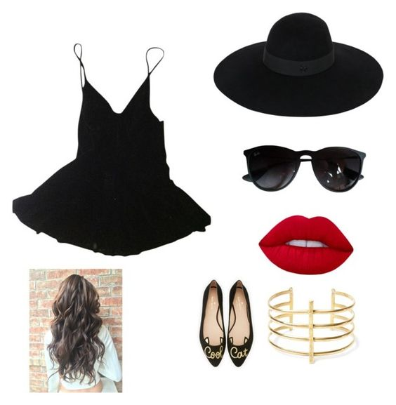 """Untitled #2"" by niania-i on Polyvore featuring HAMNETT, Ray-Ban, Maison Michel, Lime Crime, Kate Spade and BauXo"