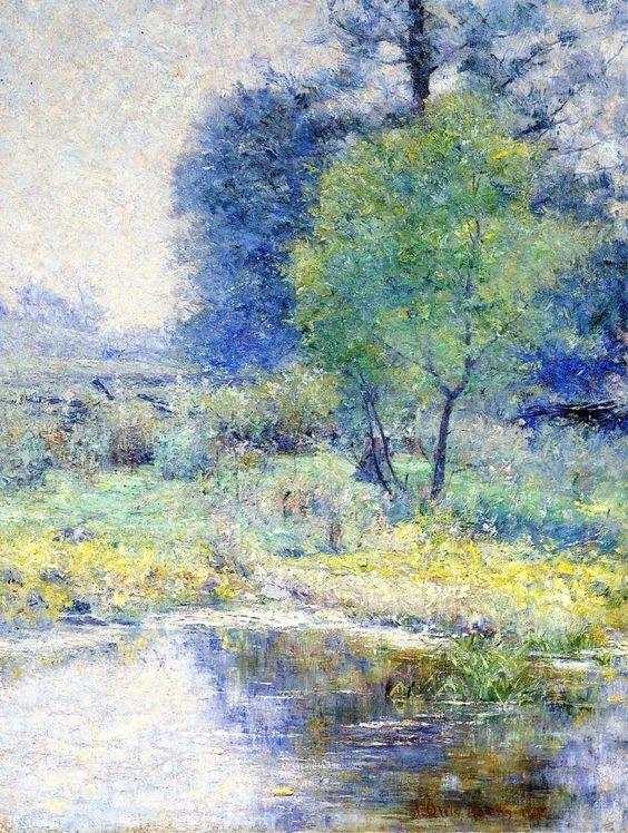 John Ottis Adams (1851-1927) American Impressionist Painter ~ Spring lands