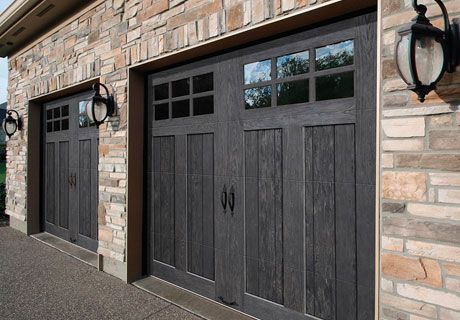 Steel Base With Faux Wood Composite Cladding Overlay Beautiful And Unique These Carriage House Doors Are Garage Door Design Garage Door Styles Garage Doors