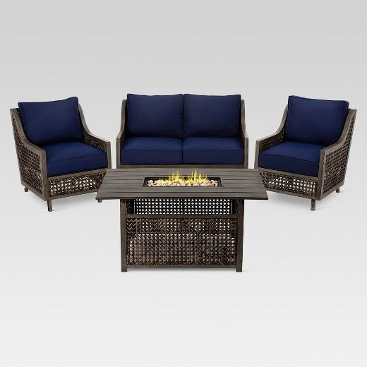 Fabron 4 Piece Wicker Patio Fire Chat Set Threshold Target Conversation Set Patio Blue Patio Furniture Outdoor Patio Set