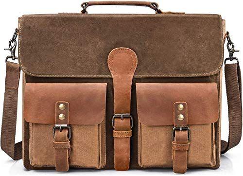 New Brown Mens Genuine Leather Large 15.6 Laptop Case for computer bag shoulder