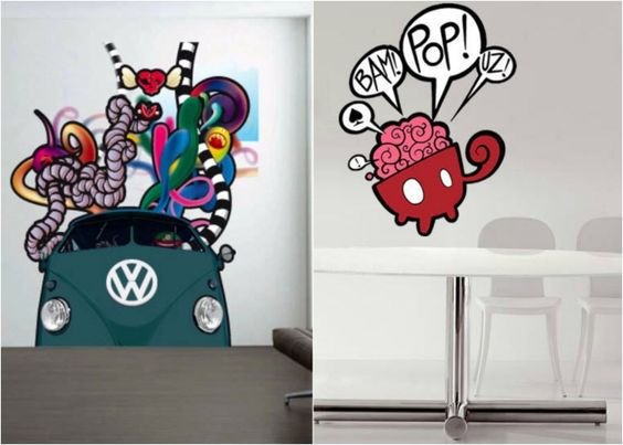 42 stickers muraux graffiti pour la chambre ado. Black Bedroom Furniture Sets. Home Design Ideas