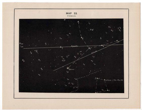 1891 virgo constellation original antique celestial star map  astronomy print