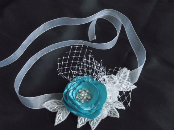 Wrist corsage turquoise blue hand crafted by RaspberryRibbonbquet, $30.00