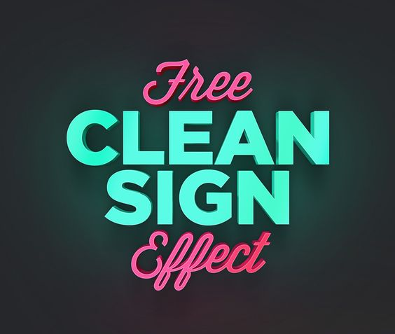Free Clean Sign Text Effect Freebies Text Effect PSD Graphic Design Free…