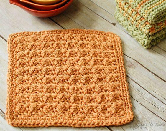 Textured Crochet Dishcloth Pattern | Diseño, Puntadas y Patrones
