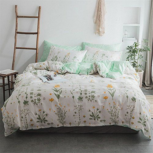 Xiyunhan Simple Cotton Plant Leaves Floral Print Quilt Cover Four Sets Of Bedding Best Quilted Comforter Set Usa Bedding Set Duvet Cover Sets Bed