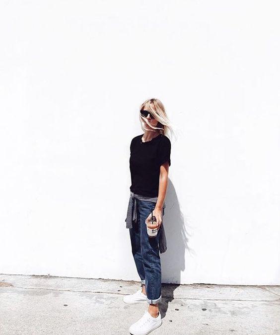 weekend attire   @mija_mija #blue #denim #jeans #black #white #coffee #bluejeans #gap #tshirt #commonprojects #celine #sunglasses #celinesunnies #stripes
