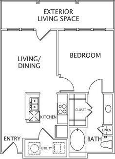 400 sq ft apartment floor plan - Google Search  400 sq ft floorplan ...