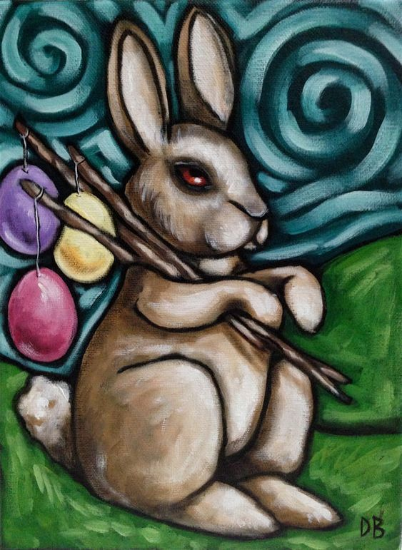 Paint Basket Art Lessons : Easter colourful acrylic painting rabbit bunny by