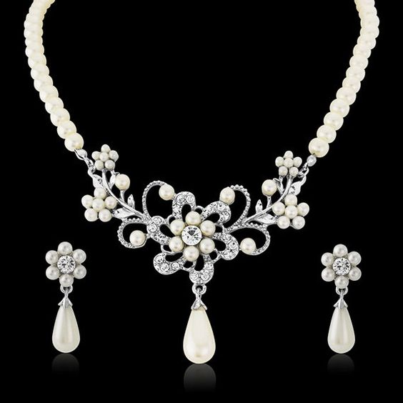 Beautiful Crystal and Pearl droplet necklace set. (Ivory Pearl)  Perfectly made in a vintage style with clear Cz crystals on a silver finish, the necklace is fully adjustable and comes complete with beautiful matching ivory pearl earrings.  Earrings Measuring - 3.5cm in length  Perfect for Brides/proms