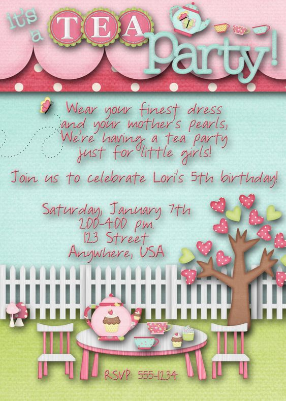 Tea Party Birthday Party Invitation. Emma's birthday? Course it wouldnt be just girls though......: