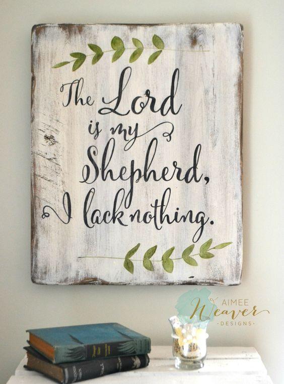 The Lord is my shepherd // wood sign by Aimee Weaver Designs: