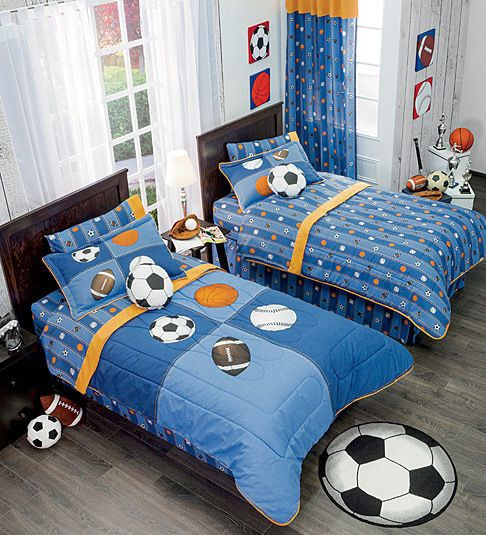 Details about twin full bunk bed boys football soccer - Complete bedroom sets with curtains ...