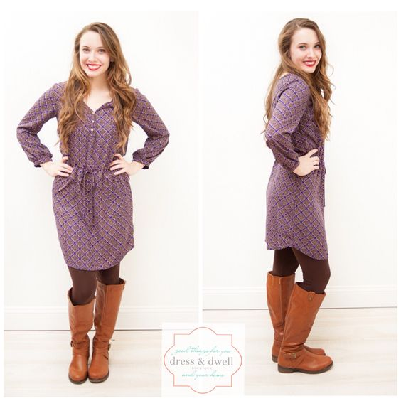 •the pretty in purple dress $48.00• Endlessly flattering, we love the get-up-and-go appeal of the Pretty in Purple Dress, it's a charm-ing piece. Pair with a layering sweater, cardigan, tights, booties or knee-high boots with sweater sleeves! Adorable! Model Advice: Comfortable fit.