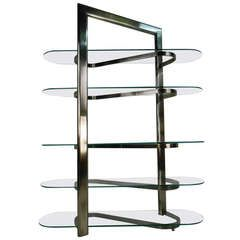 Modern Stainless and Glass Etagere