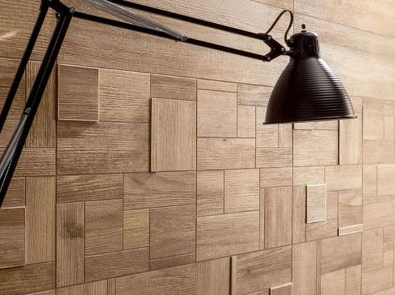 Ceramic tiles that look like wood! Medium rough grain square and rectangular combination wooden wall tiles