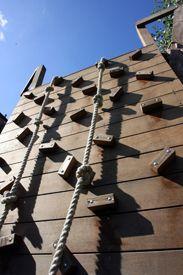 Adventure Playground Climbing Wall--using hardwood instead of plastic holds