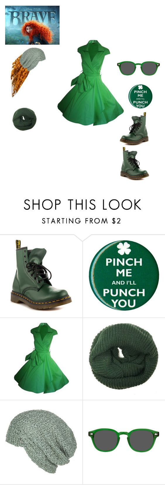 """""""Brave (Disney Prom)"""" by pegacece ❤ liked on Polyvore featuring Dr. Martens, Disney, Krochet Kids and Moscot"""