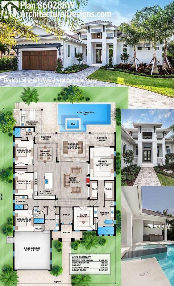 Architectural Designs 4 Bed Modern Southern House Plan 86028bw Looks Great On The Outside And Spectacular Ins Florida House Plans Sims House Plans House Plans