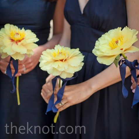 yellow peony, this would be great paired with a pink with a simple ribbon as bridesmaids bouquets