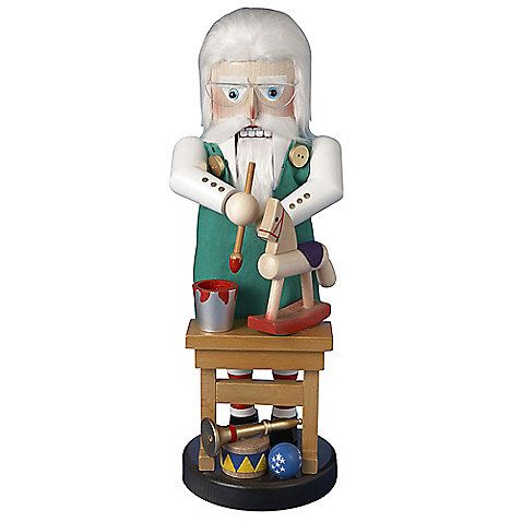 The 17 Steinbach North Pole Santa Toymaker Nutcracker from Kurt Adler features Santa in work clothes and hard at work on his toys for Christmas. This nutcracker makes a wonderful Christmas decoration for your home.