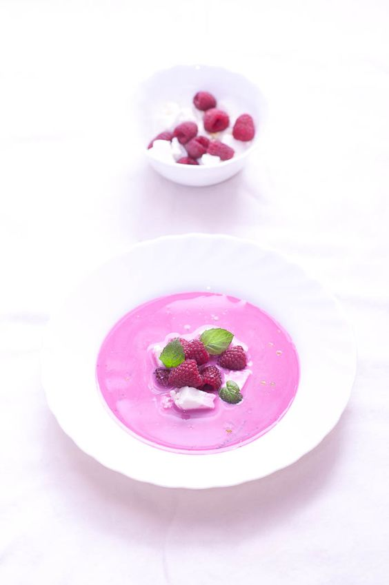 Chilled Beetroot Soup with Raspberry Salsa