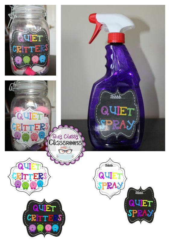 Quiet Critters & Quiet Spray - Classroom Management Labels from Stay Classy Classrooms