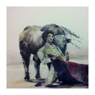 A scene of a Portuguese tradition. Love it or loathe it: the spectacle of ' Tauromaquia'. Photo credit @user  #bullfighting #portuguesetradition #watercolorpainting #matador