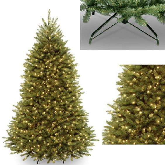 7.5 Pre Lit Artificial FIR Christmas Tree 750 Clear Lights Stand Realistic Look…