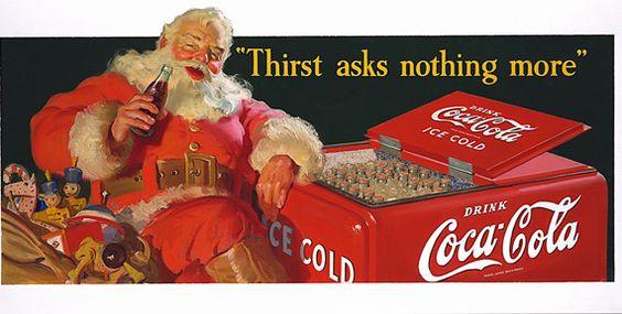 Vintage santa coke ads the image of coca cola santa claus appeared