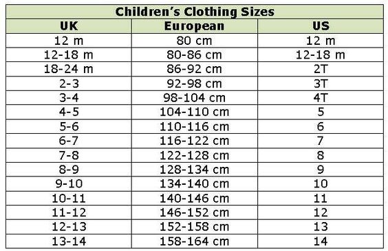 children size conversion chart