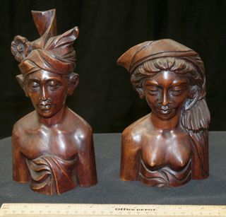 POLYNESIAN CARVED WOOD BUSTS