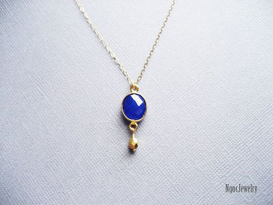 Cobalt Blue Chalcedony Necklace by NgocJewelry