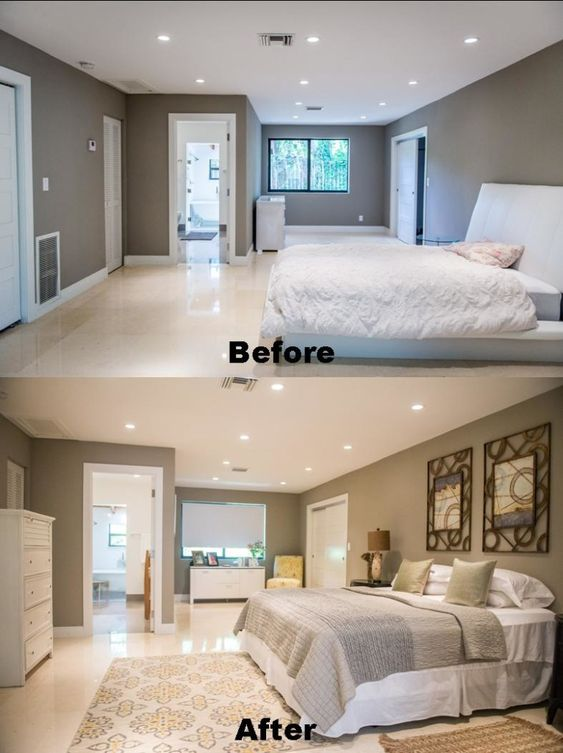Staging before and after pictures of this bedroom at 3025 blaine street in coconut grove read Master bedroom home staging