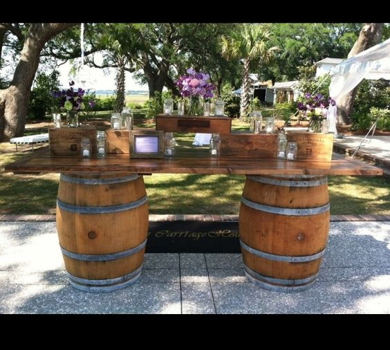 Rustic wine barrel idea Wedding ideas Pinterest
