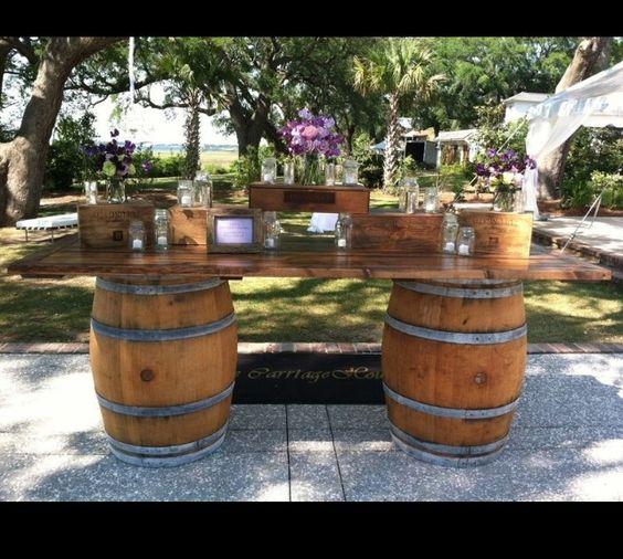 Rustic wine barrel idea Wedding ideas Pinterest