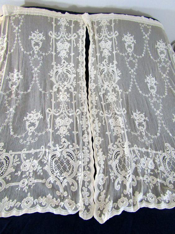 cotton lace curtains curtain panels 64 forward gorgeous vintage ivory