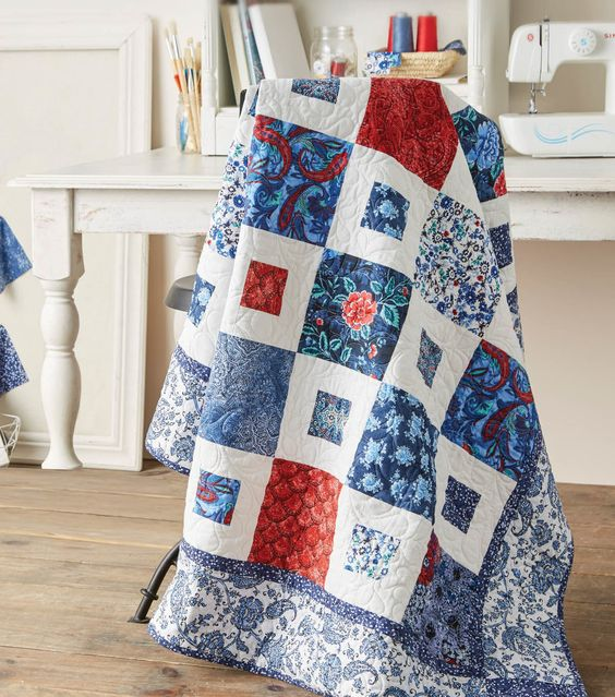 Beautiful Red white and Blue Quilt from Joann.com