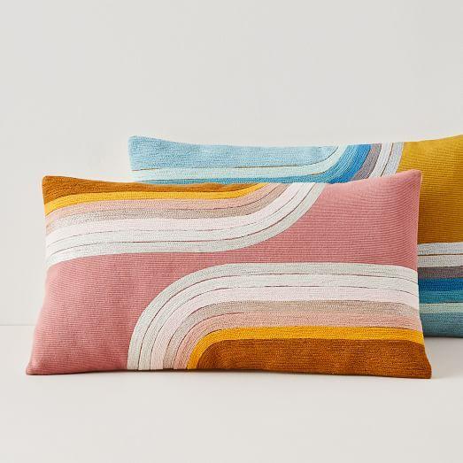 Crewel Embroidered Lumbar Pillow Cover