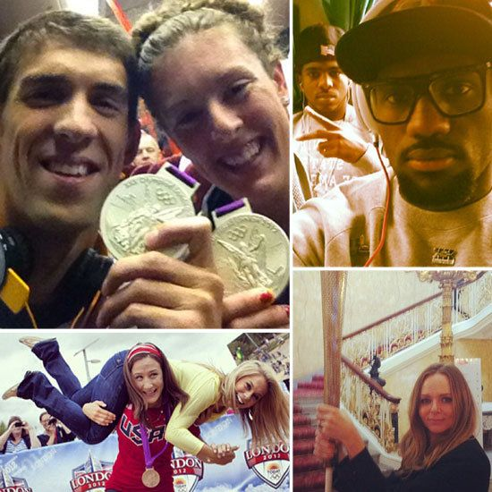 Stella McCartney, who designed the UK's uniforms, got patriotic with the torch while LeBron James shared a snap from the team bus. Swimmers Michael Phelps and Allison Schmitt showed off their medals and Shawn Johnson got a lift from Judo medalist Marti Malloy.
