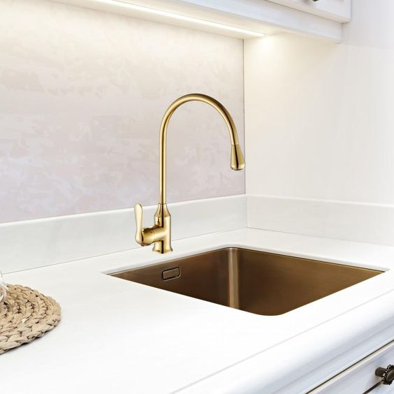 Jednouchwytowa Zlota Bateria Do Zlewu Kuchni Kran Yoka Home Decor Sink Decor