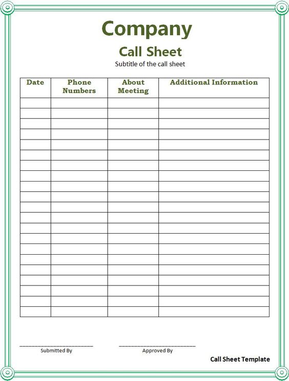 Call Sheet Template Professional Templates Pinterest – Word Sign in Sheet Template