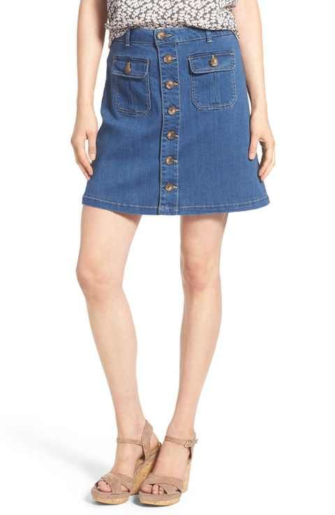 Wit & Wisdom Button Front Denim Skirt (Nordstrom Exclusive ...