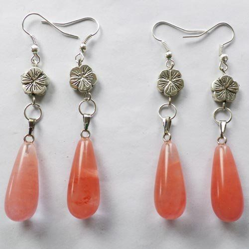 Cherry Quartz Teardrop with Silver Flower Earrings 2 Pairs